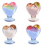 Satz unterschiedliche geschmackvolle Eiscreme Lizenzfreie Stockfotografie