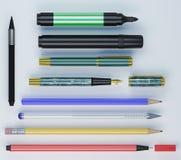 Satz unterschiedlichen colorfull Büros bearbeitet nebeneinander legen lizenzfreie stockfotografie
