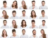 Satz unterschiedlicher Mann und weibliche Gesichter stockfotografie