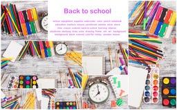 Satz unterschiedlicher Schulbedarf: Bleistifte, Notizbücher, Markierungen und Satz Aquarelle Lizenzfreies Stockfoto