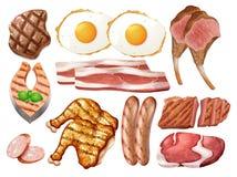 Satz unterschiedliches Geflügel und Fleisch lizenzfreie abbildung