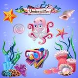 Satz Unterwassereinzelteile stockbild