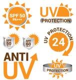 Satz UVsonnenschutz und Antiuv stock abbildung