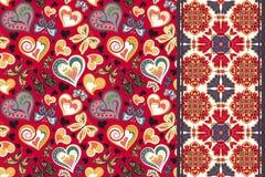 Satz Valentinsgrußblumenhintergrund mit Herzen, Schmetterling und nahtloser Grenze, Bandbandstreifen Retro- Muster Stockfoto