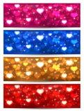 Satz Valentinsgrußkarten mit Herzen Stockbild