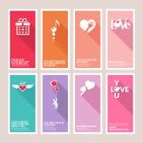 Satz Valentinsgrußtagesgrußkarten Lizenzfreie Stockfotos