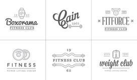 Satz Vektor-Eignungs-Aerobic-Turnhallen-Elemente und Eignungs-Ikonen-Illustration können als Logo benutzt werden Stockfotografie