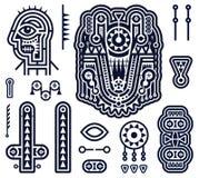 Satz Vektor-Elemente in Stammes- Art Techno Lizenzfreie Stockbilder