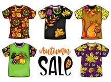 Satz Vektor Herbst-Schablonent-shirts stock abbildung