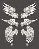 Satz Vektor himmlisch oder Vogelflügel stock abbildung