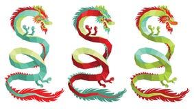 Satz Vektor-polygonale chinesische Drachen Stockfotos