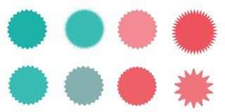 Satz Vektor starburst, Sonnendurchbruchausweise Gestreifter grunge Hintergrund Farbige Aufkleber Eine Sammlung von unterschiedlic Stockfotografie