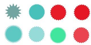 Satz Vektor starburst, Sonnendurchbruchausweise Gestreifter grunge Hintergrund Farbige Aufkleber Eine Sammlung von unterschiedlic Stockfotos