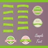 Satz Vektoraufkleber und grüne Bänder Lizenzfreies Stockbild