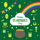 Satz Vektorbilder für St- Patrick` s Tag Werfer, Münzen, Regenbogen, Hufeisen, Hut, Klee, Flaggen, Bier, auf einem Grün Stockfotografie