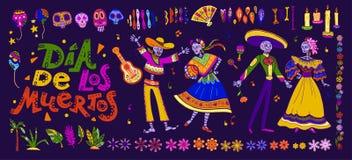 Satz Vektordia de Los Muertos traditionelle Elemente Mexikos, Symbole u. gezeichnete Art der Skelettcharaktere in der Hand lokali lizenzfreie abbildung