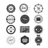 Satz Vektoreinkaufen wird und Aufkleber deutlich lizenzfreie abbildung