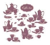 Satz Vektorelemente von Kaffeetöpfen, -schalen und -gewürzen Lizenzfreies Stockbild