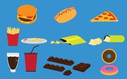 Satz Vektoren der Fastfood-ungesunden Fertigkost und des Snacks Stockbilder