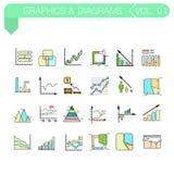 Satz Vektorfarbikonen von Grafiken und von Diagrammen Stockbild