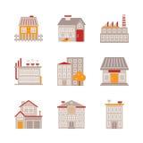 Satz Vektorgebäudeikonen und -konzepte in der flachen Art lizenzfreie abbildung