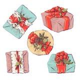 Satz Vektorikonen in der flachen Art für Weihnachten Stilvoller Satz Geschenke und Weihnachtssocken Lizenzfreie Stockfotografie