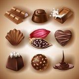 Satz Vektorikonen von Schokoladennachtischen und -süßigkeiten, flüssige Schokolade und Kakaobohnen Stockbilder