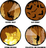 Satz Vektorillustrationen der Höhle Stockfotografie