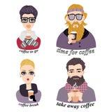 Satz Vektorillustrationen des modernen trinkenden Kaffees der jungen Leute Stockfotografie