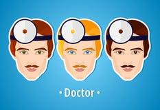 Satz Vektorillustrationen eines Doktors doktor Das Gesicht der manss ikone Lizenzfreie Stockfotografie