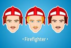 Satz Vektorillustrationen eines Feuerwehrmanns Mannfeuerwehrmann ikone Flache Ikone minimalismus Der stilisierte Mann besetzung j Lizenzfreie Stockfotos