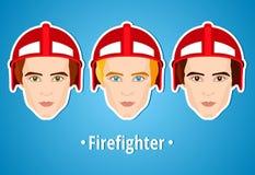 Satz Vektorillustrationen eines Feuerwehrmanns Mannfeuerwehrmann ikone Flache Ikone minimalismus Der stilisierte Mann besetzung j Lizenzfreies Stockfoto