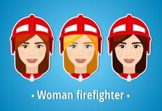 Satz Vektorillustrationen eines Mädchenfeuerwehrmanns Frauenfeuerwehrmann ikone Flache Ikone minimalismus Das stilisiert Mädchen  Stockfotos