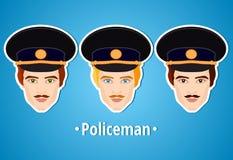 Satz Vektorillustrationen eines Polizisten polizist Das Gesicht des Mannes ikone Flache Ikone minimalismus Der stilisierte Mann b Lizenzfreie Stockfotos
