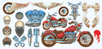 Satz Vektorillustrationen, Ikonen des Weinlesemotorrades in den verschiedenen Winkeln, Schädel, Flügel Stockfotos