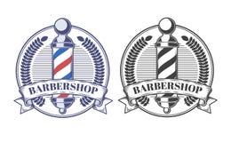 Satz Vektorillustrationen von Emblemen, Aufkleber, Aufkleber von Friseursalonsalons stock abbildung