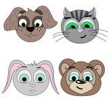 Satz Vektorillustrationen von Tierköpfen Hund, Katze, Hase, Bär lizenzfreie abbildung