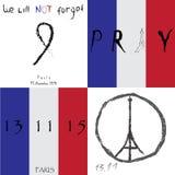 Satz Vektorillustrationsfahnen Wir vergessen nicht Titel Beten Sie für Frankreich Beten Sie für Paris Terroranschlag Weltfriedens Lizenzfreie Stockfotografie