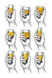Satz Vektorillustrationshände, die Stemware halten Stockbild