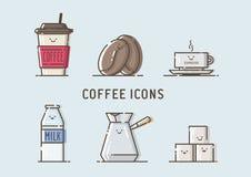 Satz Vektorkaffeeikonen Stockbilder