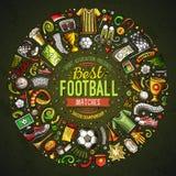 Satz Vektorkarikaturgekritzel Fußballgegenstände sammelte in einer runden Grenze Stockfotos