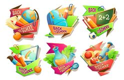 Satz Vektorkarikaturillustrationen, Ausweise, Aufkleber, Embleme, färbte Ikonen des Schulbedarfs stock abbildung