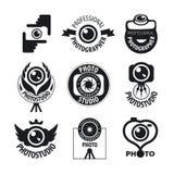 Satz Vektorlogos für Berufsfotografen Lizenzfreie Stockfotos