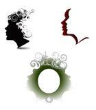 weibliches Profil auf weißem Hintergrund Stockbild
