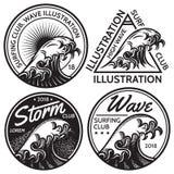 Satz Vektormuster für Design auf dem Thema des Wassers, surfend, Ozean, Meer Lizenzfreie Stockfotografie