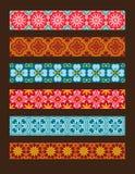 Satz Vektornahtlose Blumenverzierungen Stockfotos