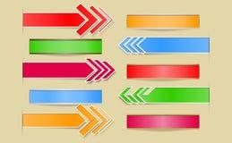 Satz Pfeile und Fahnen mit Papierschnitten und sha Stockbilder
