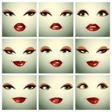 Satz Vektorporträts von sexy Frauen in den verschiedenen Gefühlen nennwert vektor abbildung