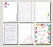 Satz Vektorschablonen für Buchstabe- oder Grußkarte Stockbilder