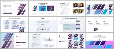 Satz Vektorschablonen für Websitedesign, minimale Darstellungen, Portfolio UI, UX, GUI Lizenzfreies Stockfoto